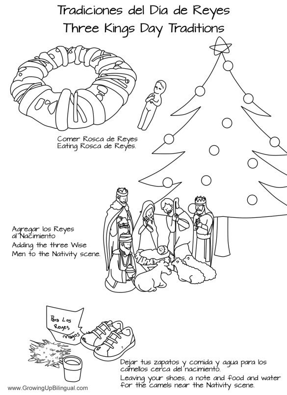 Día de Reyes Traditions Coloring Pages - Printable