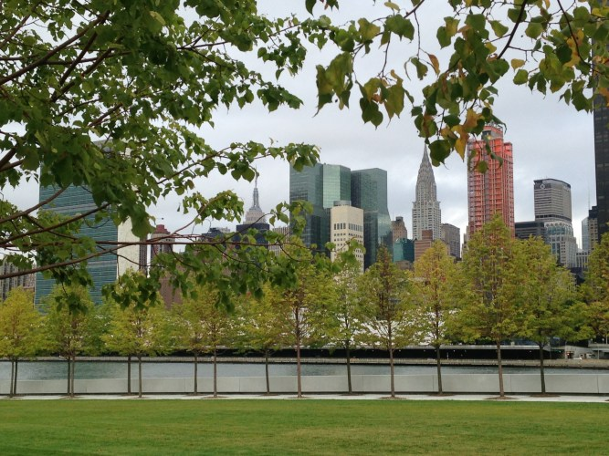 A view of the Manhattan skyline from Four Freedoms Park.
