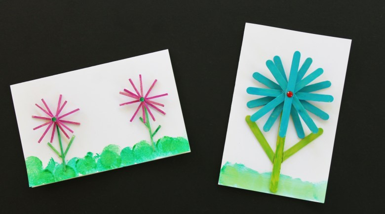 DIY Thank you card craft made with popsicle sticks