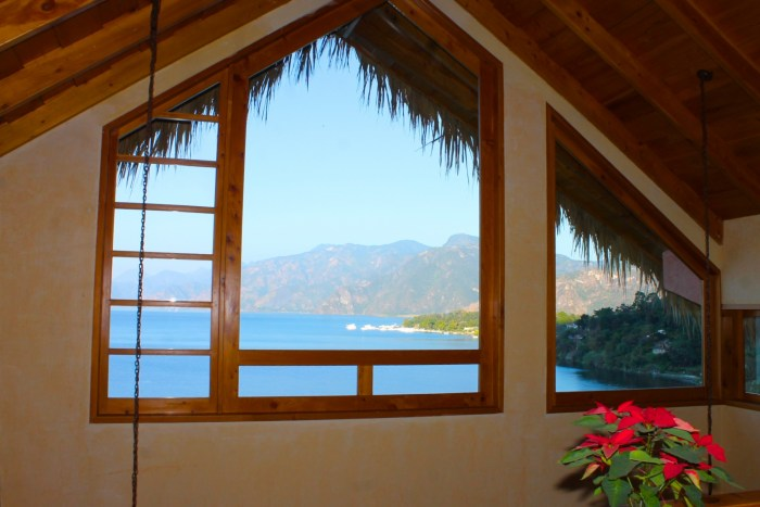 View from second story mezzanine, Villas B'alam Ya, Atitlan, Guatemala
