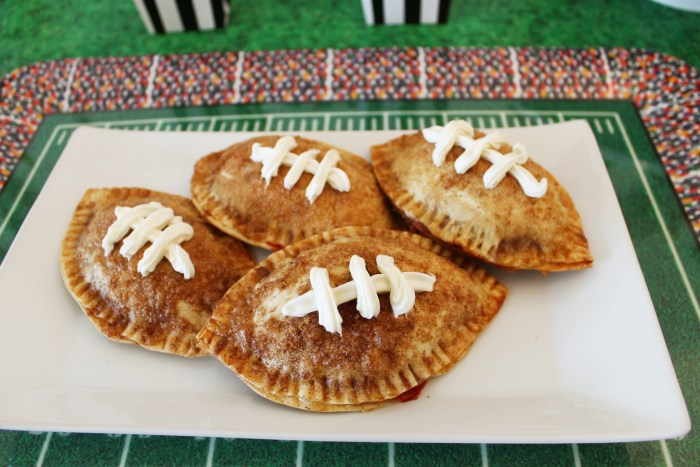 football strawberry and chocolate empanadas made with Snickers