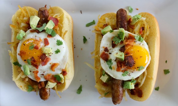 sausage egg and bacon breakfast hot dogs