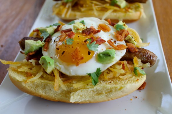 bacon sausage and egg breakfast hot dogs