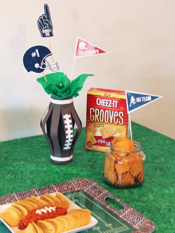 football party decoration and cheese-it grooves