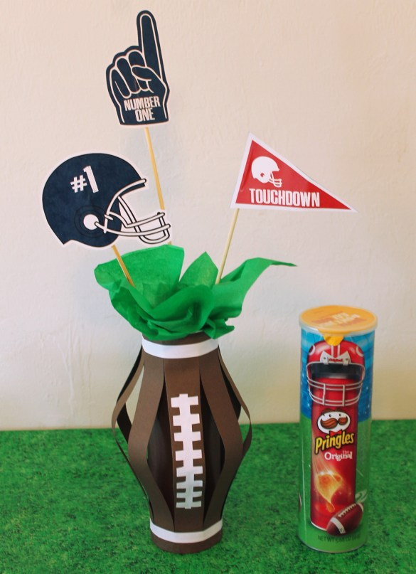 Football centerpiece for game time party