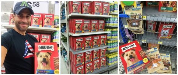 Shopping for dog treats at Walmart
