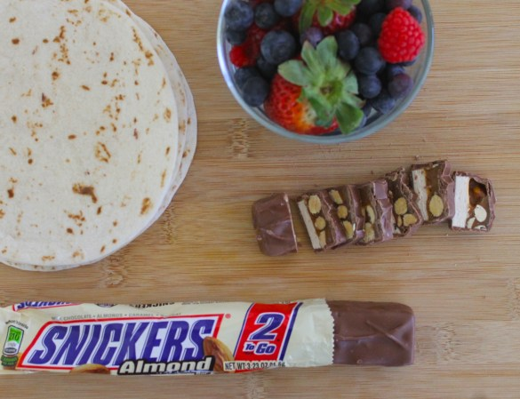 Chocolate tacos ingredients with Snickers Almond