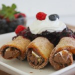 chocolate tacos with berry sauce