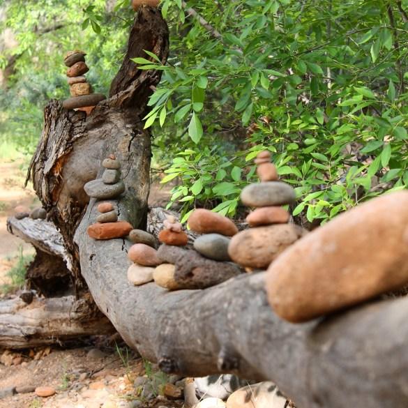 stacked rocks at Buddha Beach in Sedona