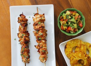 Grilled Spicy Guava Glazed Chicken Skewers with Pineapple Avocado Salsa