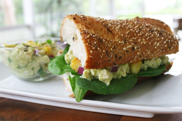 avocado and pineapple chicken salad sandwich