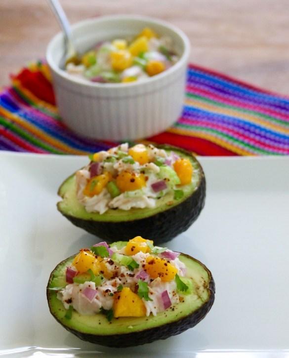 turkey and mango salad filled avocados