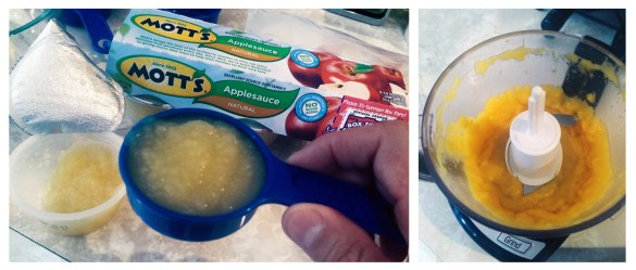 Mixing Applesauce with mango