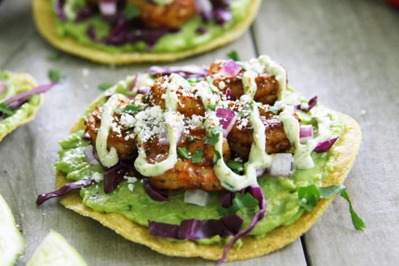 Avocado And Chipotle Shrimp Tostadas With Cilantro Lime Crema