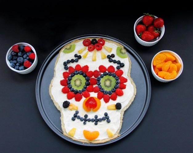 day of the dead sugar skull fruit pizza