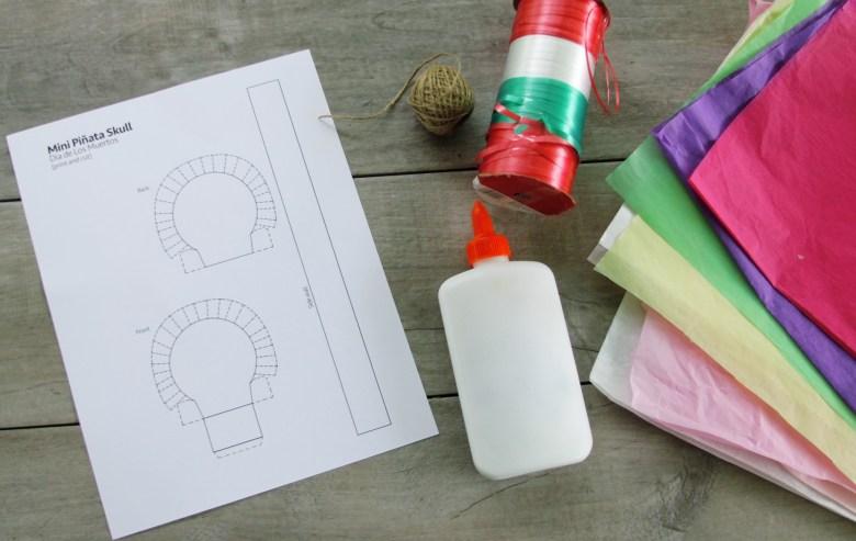materials for Day of the Dead sugar skull mini pull piñata garland