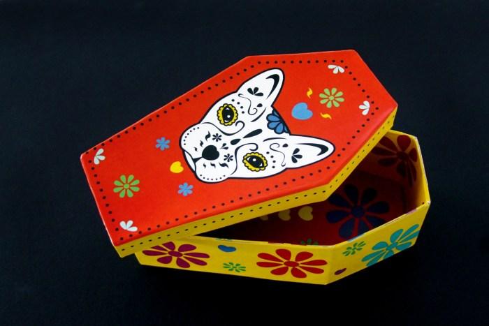 Day of the Dead dog sugar skull coffin gift box
