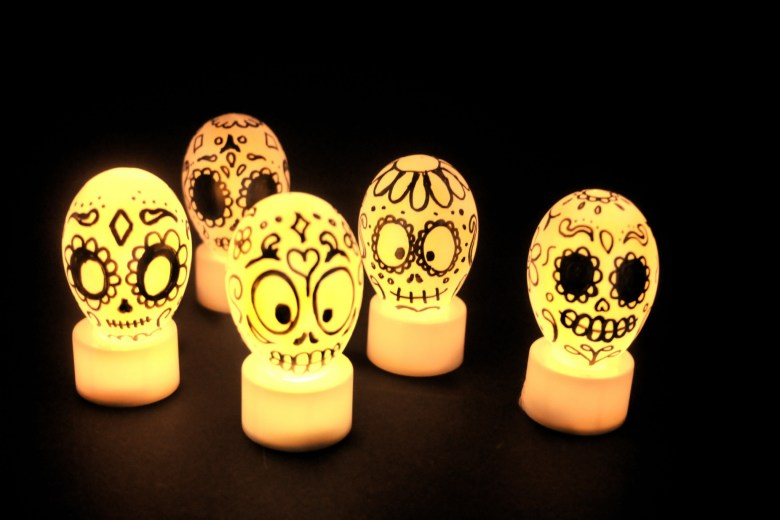 Day of the dead glowing decorations for Halloween