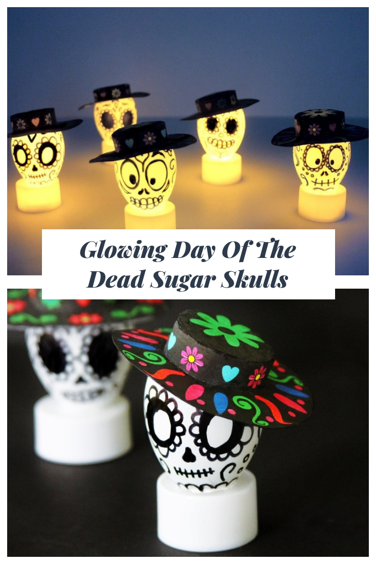 These glowing Day of the Dead sugar skulls are super easy to make and will be a great decoration for your Day of the Dead celebration!