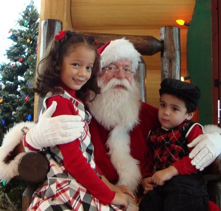 family with Santa Claus