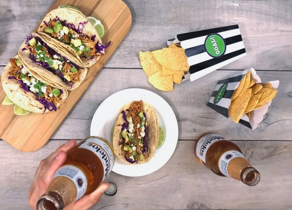 Modelo beer and tacos for soccer match