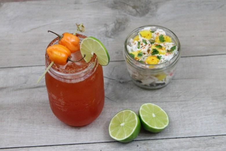 Habanero Michelada with Clamato and mango crab salad