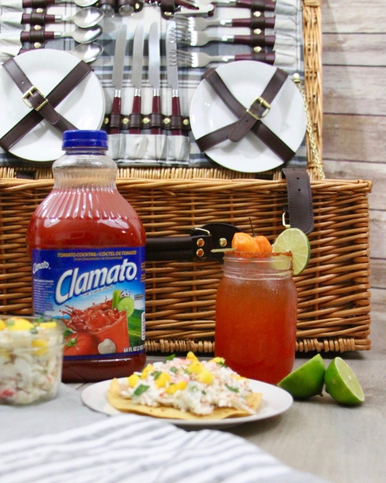 Habanero Michelada with Clamato and mango crab salad