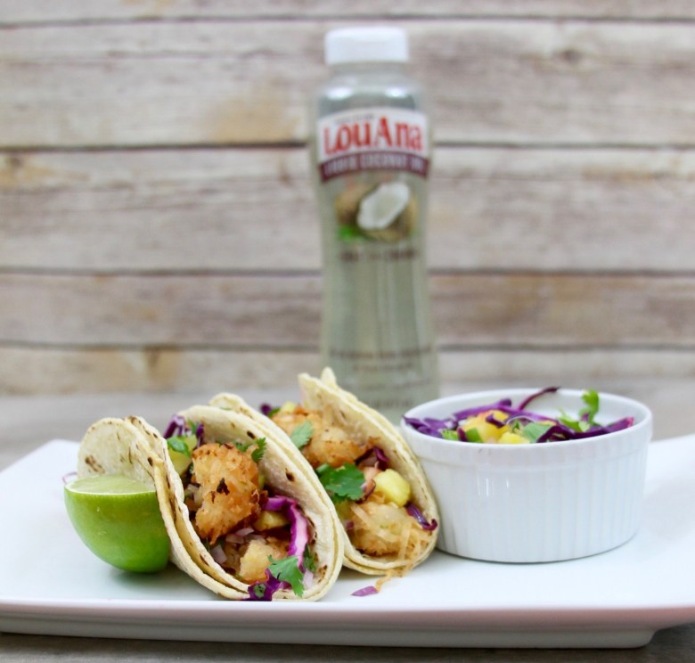 Coconut shrimp tacos with pineapple slaw