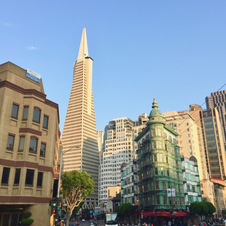 Transamerica tower and The Sentinel building in San Francisco
