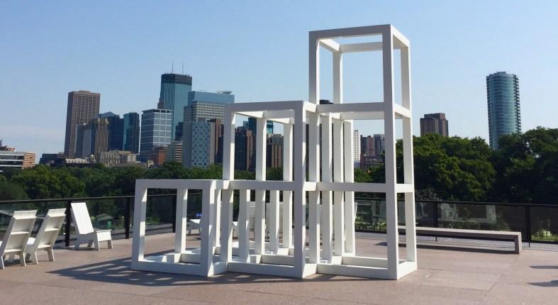 Sol Le Witt sculpture at Walker Art Center.