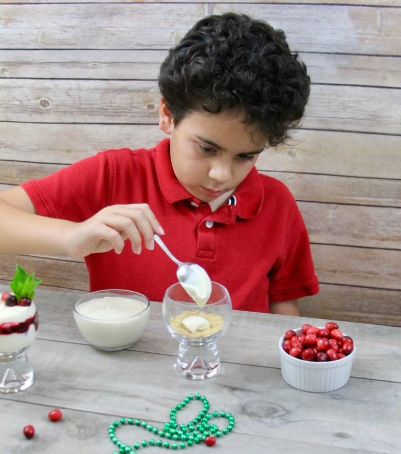 No-bake Eggnog Cheesecake Cranberry Parfait recipe