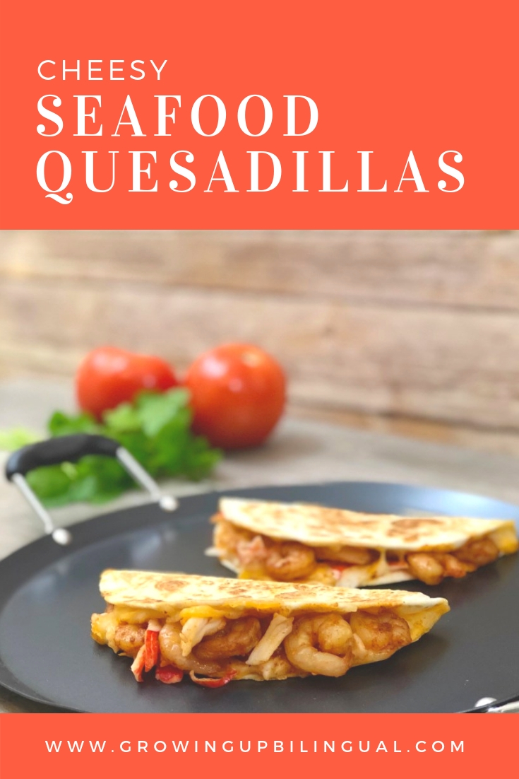 These delicious and easy to make cheesy seafood quesadillas will make any weekday dinner special!
