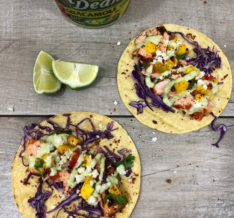 Chipotle Salmon Tacos With Mango Salsa And Avocado Crema