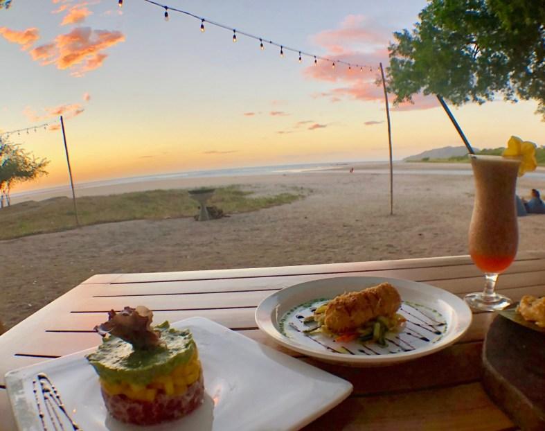 Panga's Beach club sunset dinner
