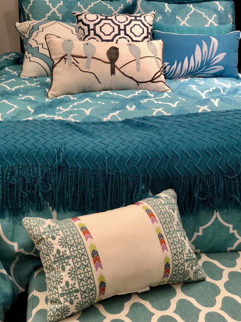 turquoise bedding spring decor