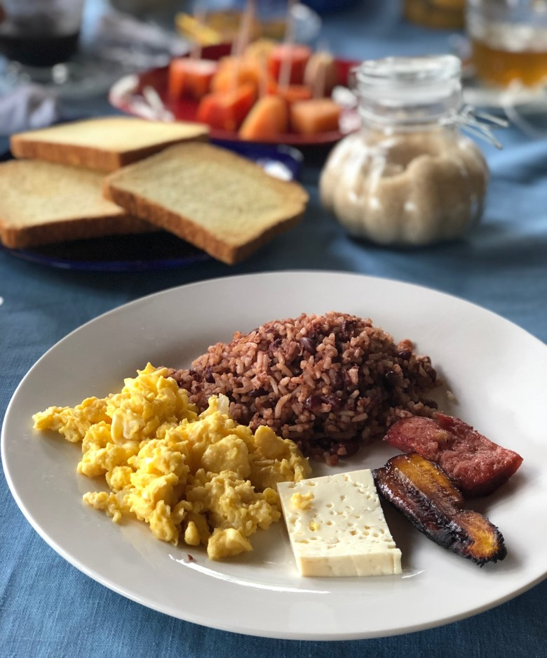 gallo pinto and eggs, traditional Nicaraguan breakfast