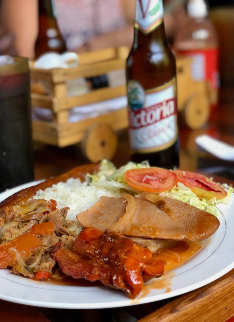 Traditional Nicaraguan food including tongue