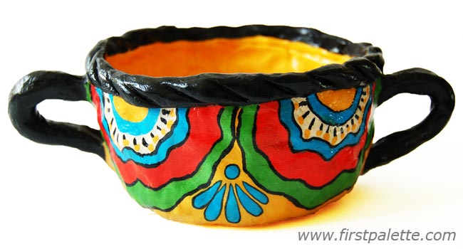 Mexican Talavera inspired pinch pot craft for kids