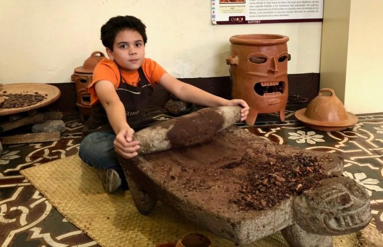 Making chocolate at Choco Museum in Antigua Guatemala