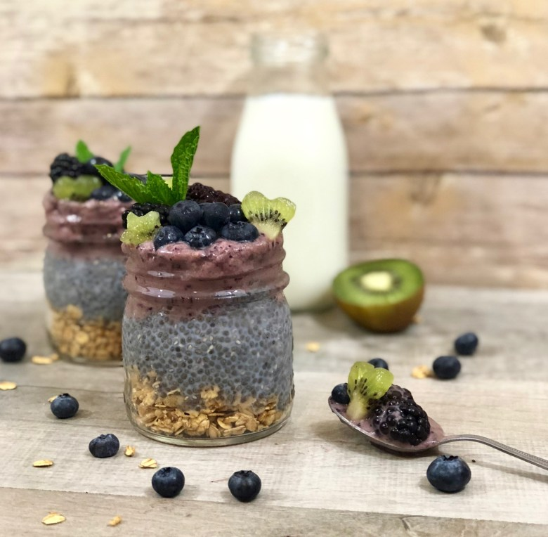 Nutritious Coconut Chia and Berry Nice Cream Parfaits