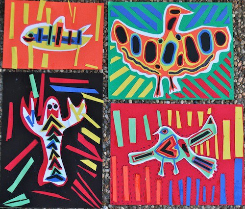 Panama Mola art project for kids and Latin American crafts to celebrate Hispanic Heritage Month