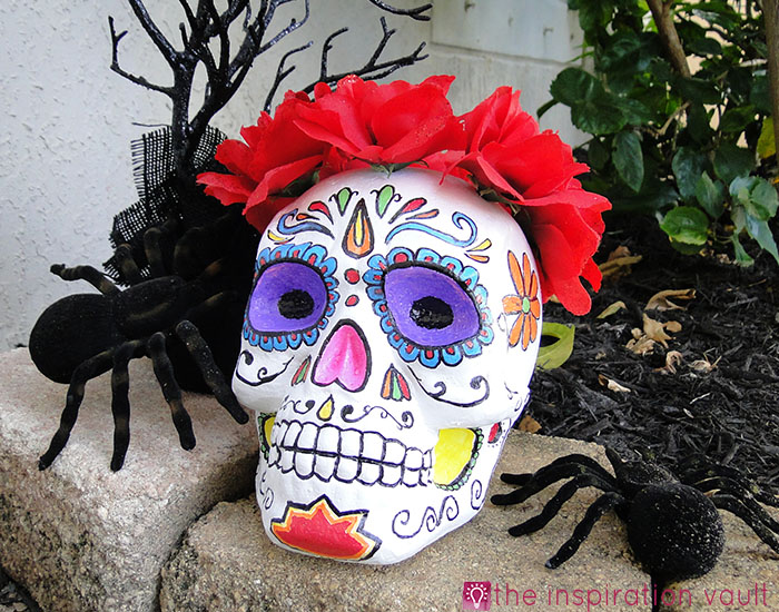 DIY Painted Sugar Skull plus 15 easy Day of the Dead Crafts for kids. These make the perfect art project for kids to learn about Dia de los Muertos.