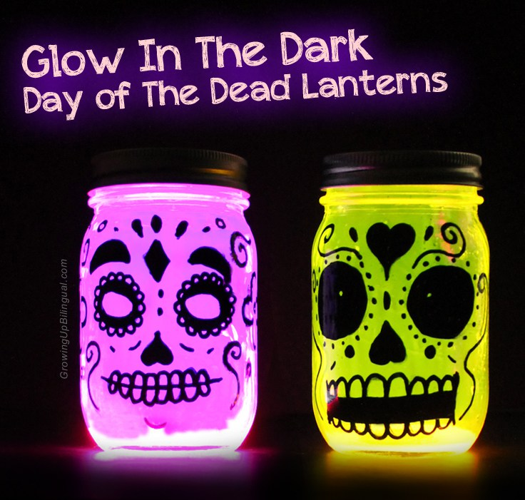 Glow in the Dark Day of the Dead Lanterns plus 15 easy Day of the Dead Crafts for kids. These make the perfect art project for kids to learn about Dia de los Muertos.