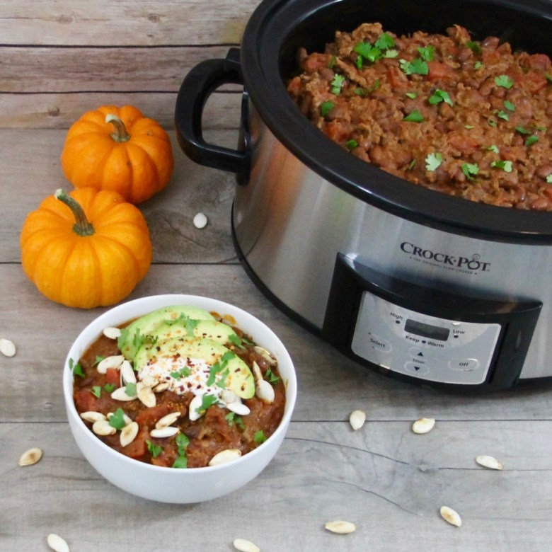 This chipotle beef pumpkin chili takes chili to a whole new level with its subtle sweetness and smoky heat for a fall dish that is sure to become this season's favorite slow cooker chili recipe.