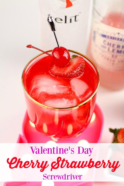 Cherry Strawberry Screwdriver Valentine's Cocktail