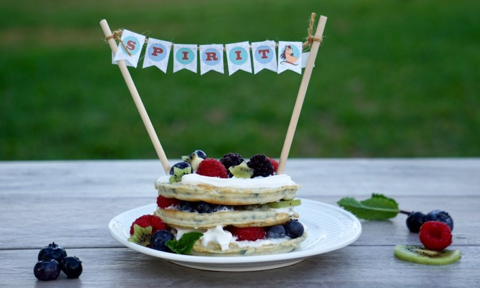 Berries and kiwi waffle cake with Spirit Riding Free printable cake banner