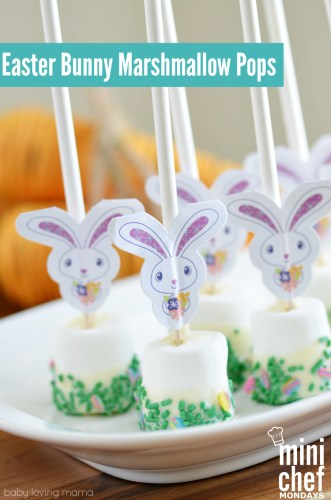 Easter Bunny Marshmallow Pops and lots of great Easter party ideas for kids