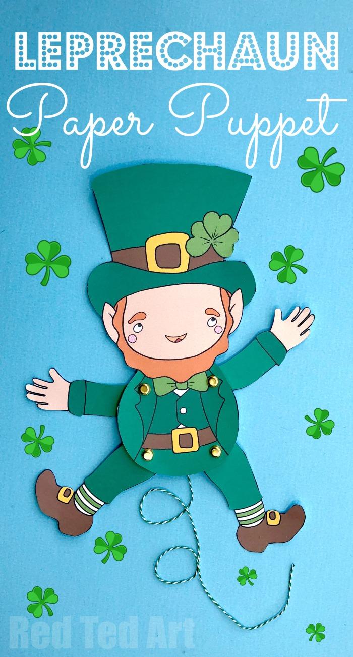 Leprechaun Puppet St Patrick's Day craft for kids