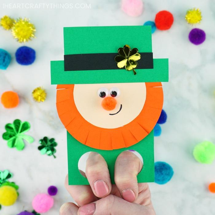 leprechaun finger puppets St Patrick's Day craft for kids
