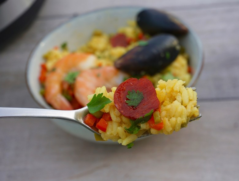 Express Pressure Cooker Seafood Paella